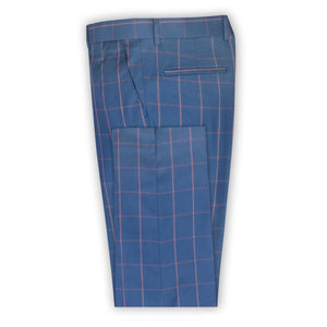 Navy with Rust Check Trouser