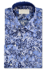 Blue floral shirt with forward point collar