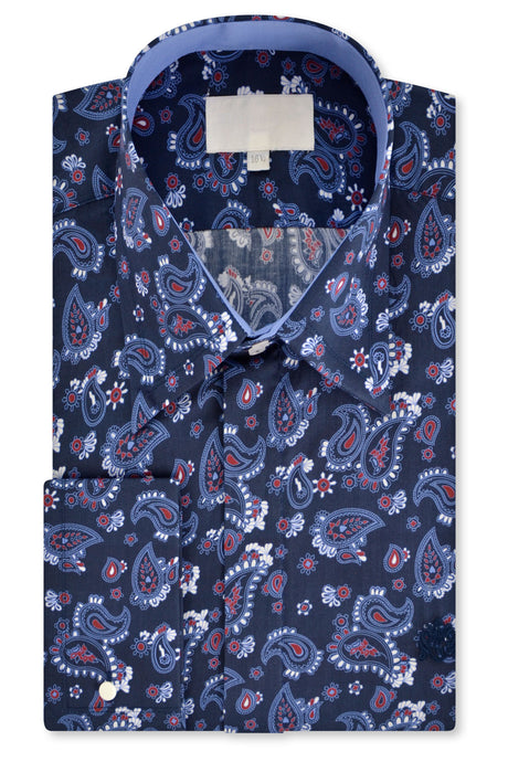 Blue and Red Paisley over Indigo Forward Point Collar Shirt