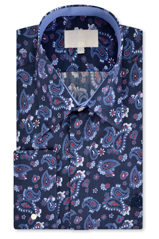 Blue and Red Paisley over Indigo Forward Point Collar Shirt with Matching Tie