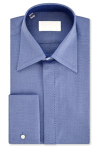 Sky over Indigo Geometric Forward Point Collar Shirt with Matching Tie