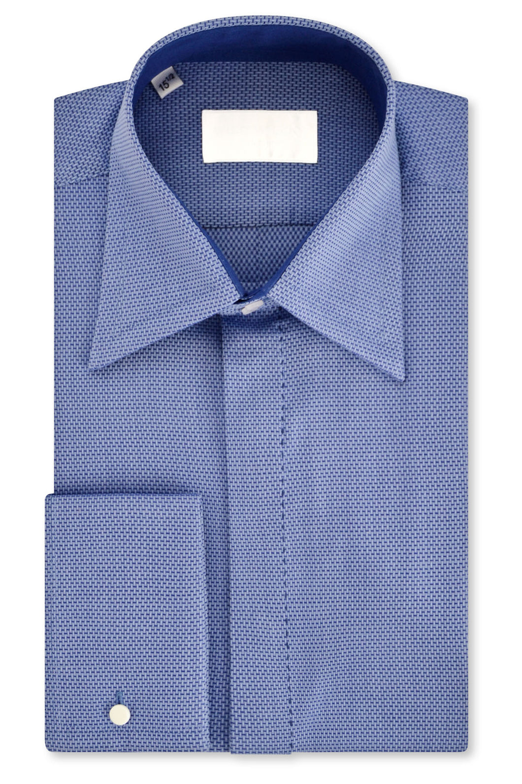 Sky over Indigo Geometric Forward Point Collar Shirt