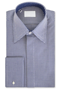 Indigo Star over White Forward Point Collar Shirt