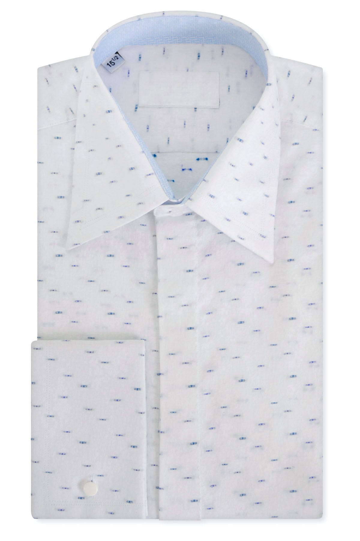 Blue Dash over White Floral Forward Point Collar Shirt with Matching Tie
