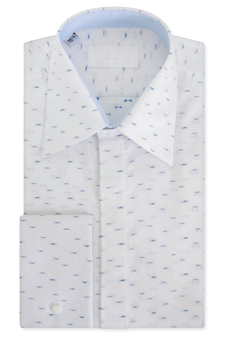 Blue Dash over White Floral Forward Point Collar Shirt