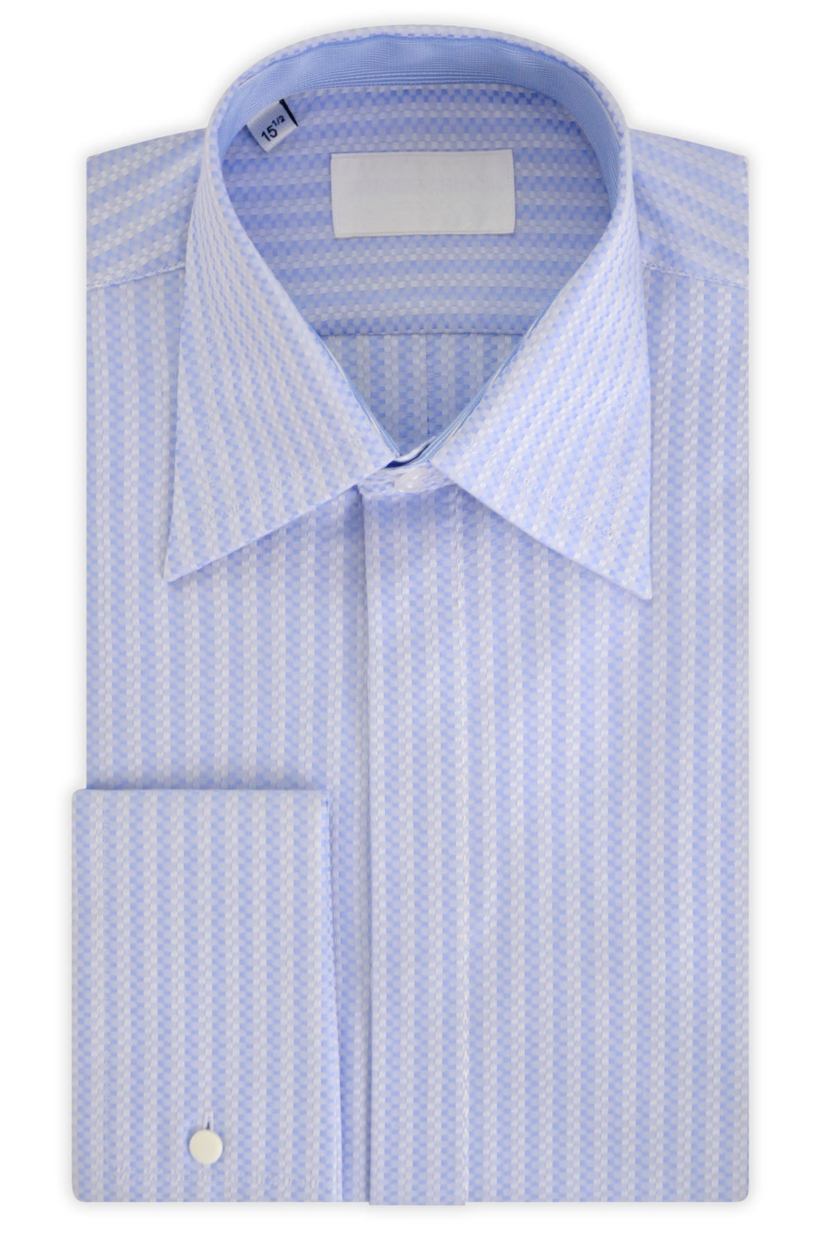 Oxford Blue over White Geometric Forward Point Collar Shirt with Matching Tie