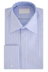 Oxford Blue over White Geometric Forward Point Collar Shirt
