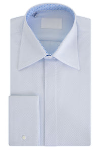 White woven dot over Sky Forward Point Collar Shirt with Matching Tie