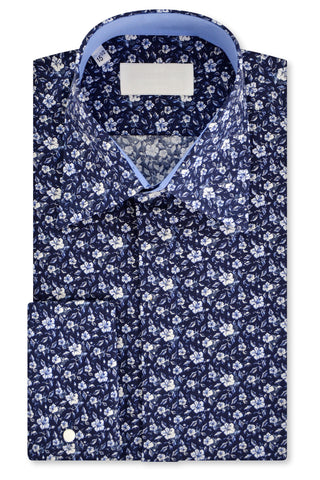 White Floral over Indigo Forward Point Collar Shirt with Matching Tie