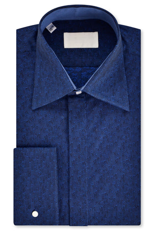 Sapphire and Indigo Floral over Navy Forward Point Collar Shirt with Matching Tie