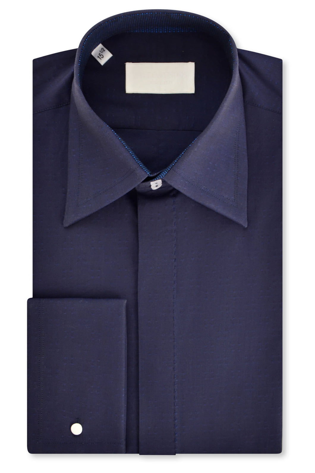 Navy Forward Point Collar Shirt with Matching Tie