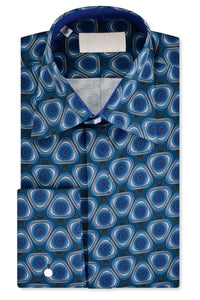 Psychedelic Blue Forward Point Collar Shirt with Matching Tie
