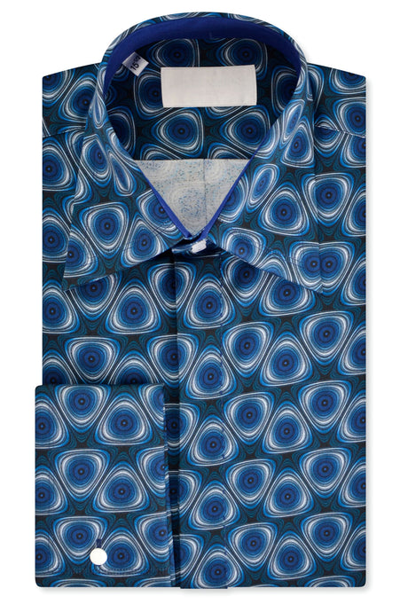 Psychedelic Blue Forward Point Collar Shirt