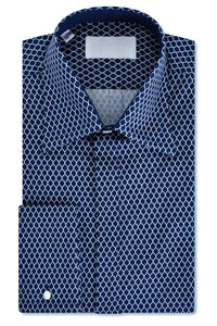 White over Indigo Geometric Forward Point Collar Shirt