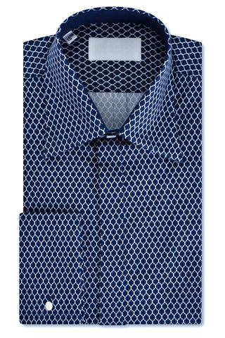 White over Indigo Geometric Forward Point Collar Shirt with Matching Tie