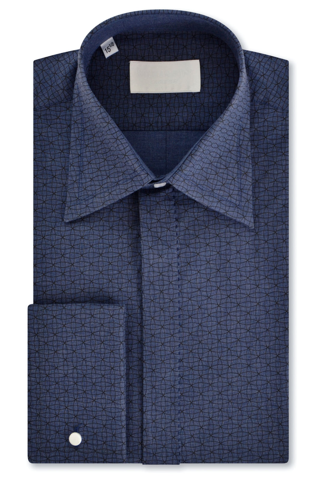 Black Geometric over Slate Blue Forward Point Collar Shirt