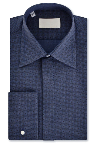 Black Geometric over Slate Blue Forward Point Collar Shirt with Matching Tie
