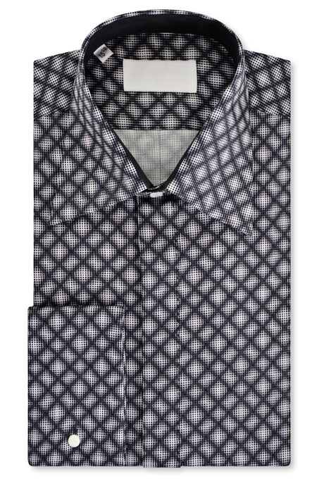 White over Black Geometric Forward Point Collar Shirt