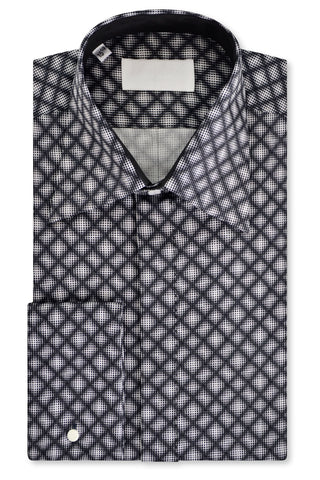 White over Black over White Geometric Forward Point Collar Shirt with Matching Tie