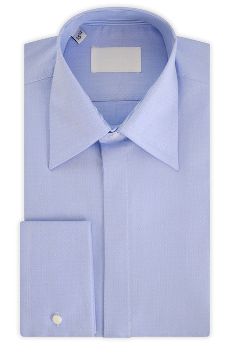 Sky Blue over White Geometric Forward Point Collar Shirt