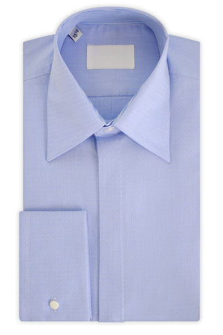Sky Blue over White Geometric Forward Point Collar Shirt with Matching Tie