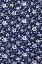 White Floral over Indigo Forward Point Collar Shirt