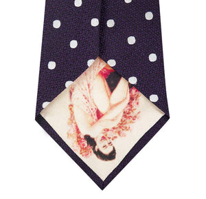 Mauve and White Polka Dot Silk Tie Back