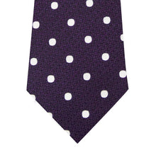 Mauve and White Polka Dot Silk Tie Close