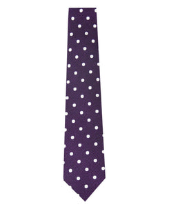 Mauve and White Polka Dot Silk Tie