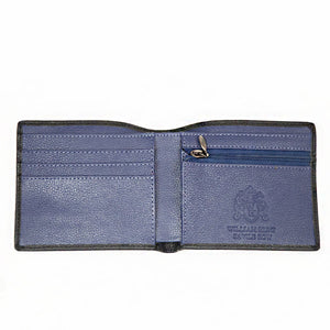 Black With Blue Zip Inner WH Wallet Inside