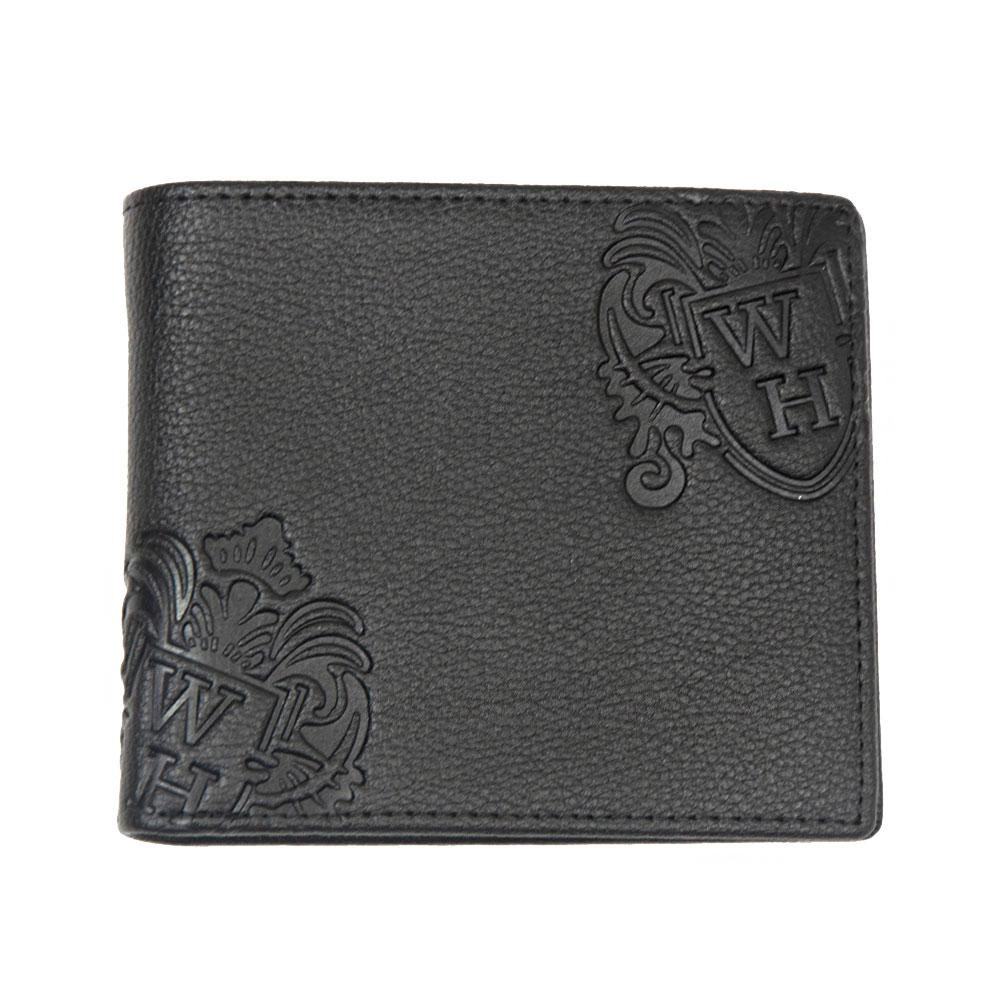 Black With Brown Inner WH Wallet Front