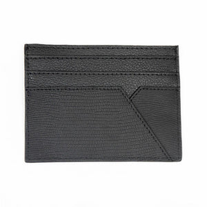 Black Leather WH Card Holder Back