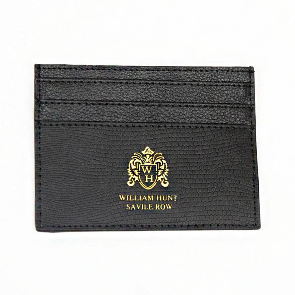 Black Leather WH Card Holder Front