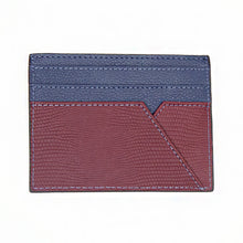 Burgundy / Blue Leather WH Card Holder Back