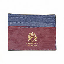Burgundy / Blue Leather WH Card Holder Front