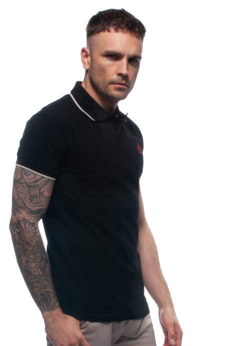 William Hunt Savile Row Men's Black Piqué Polo Top with Contrasting Tipped Collar