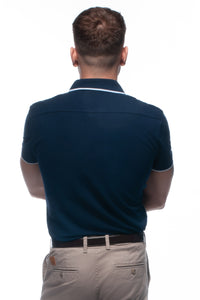 William Hunt Savile Row Men's Navy Blue Piqué Polo Top with Contrasting Tipped Collar
