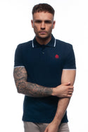 Navy Blue Piqué Polo Top with Contrasting Tipped Collar