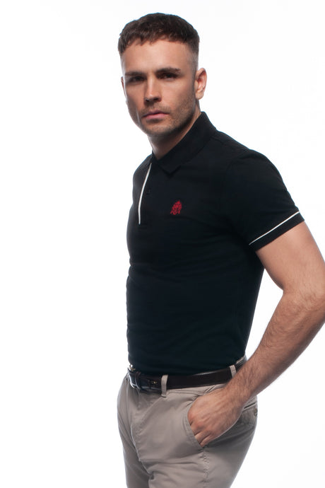 William Hunt Savile Row Men's Black Cotton Piqué Polo Top