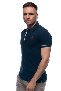 William Hunt Savile Row Men's Navy Blue Cotton Piqué Polo Top