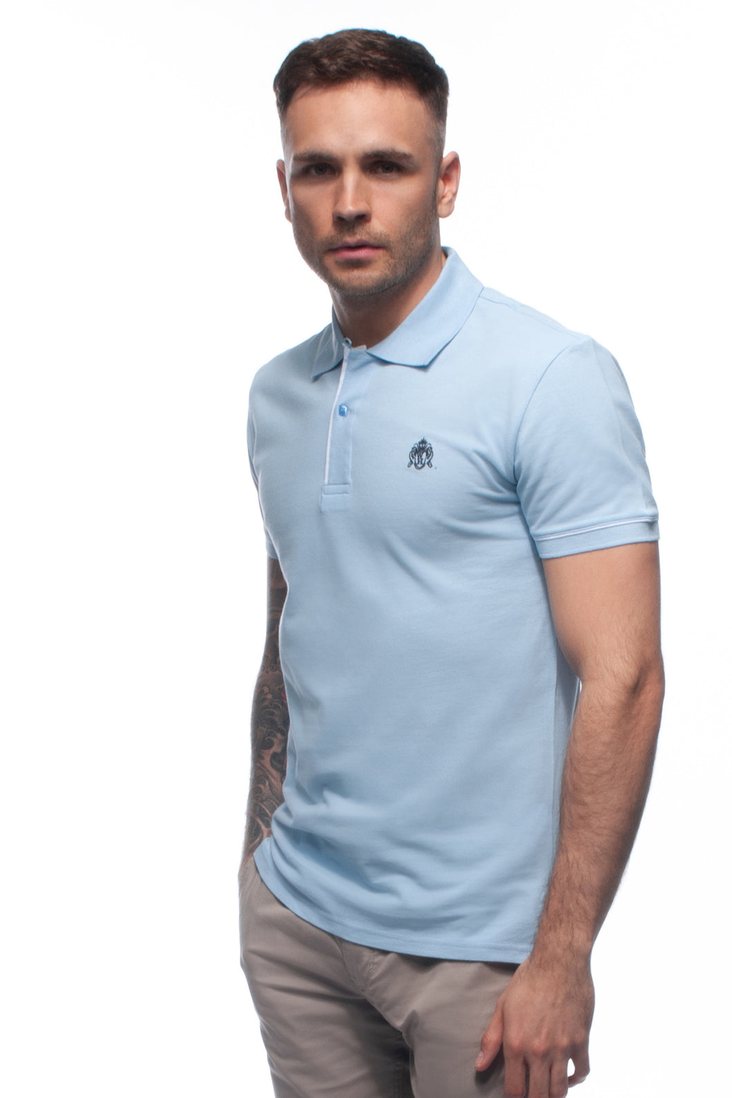 William Hunt Savile Row Men's Sky Blue Cotton Piqué Polo Top