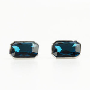 Sapphire Blue Crystal Rectangle Cufflinks