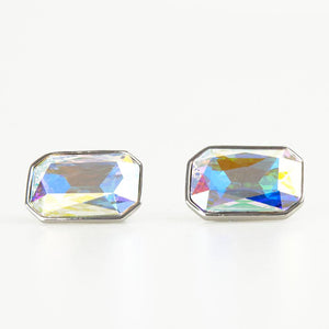 Reflective Pink Crystal Rectangle Cufflinks