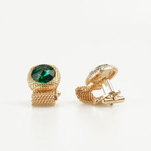Emerald Green Round Crystal Vintage Cufflinks Side view