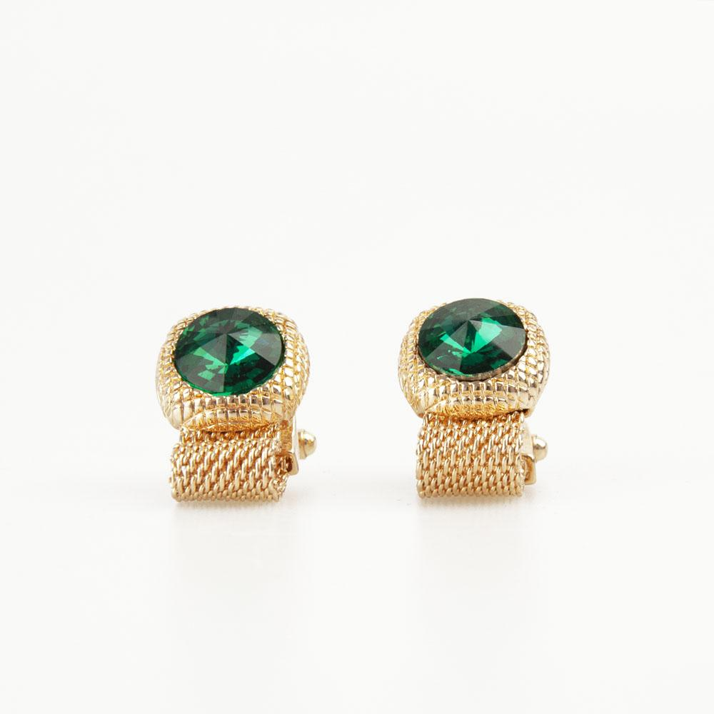 Emerald Green Round Crystal Vintage Cufflinks
