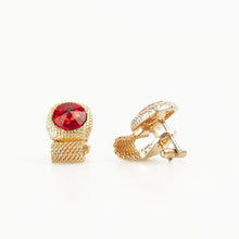 Ruby Red Round Crystal Vintage Cufflinks Side view