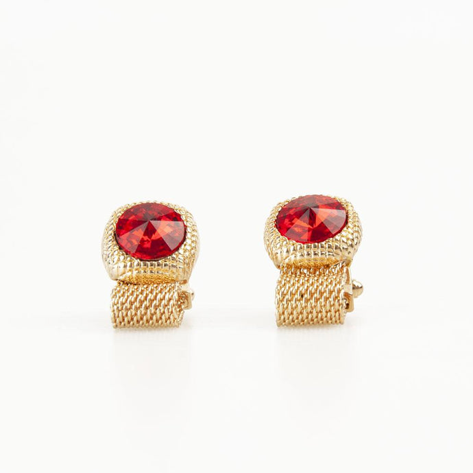 Ruby Red Round Crystal Vintage Cufflinks