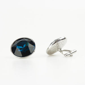 Round Sapphire Blue Crystal Cufflinks Side view