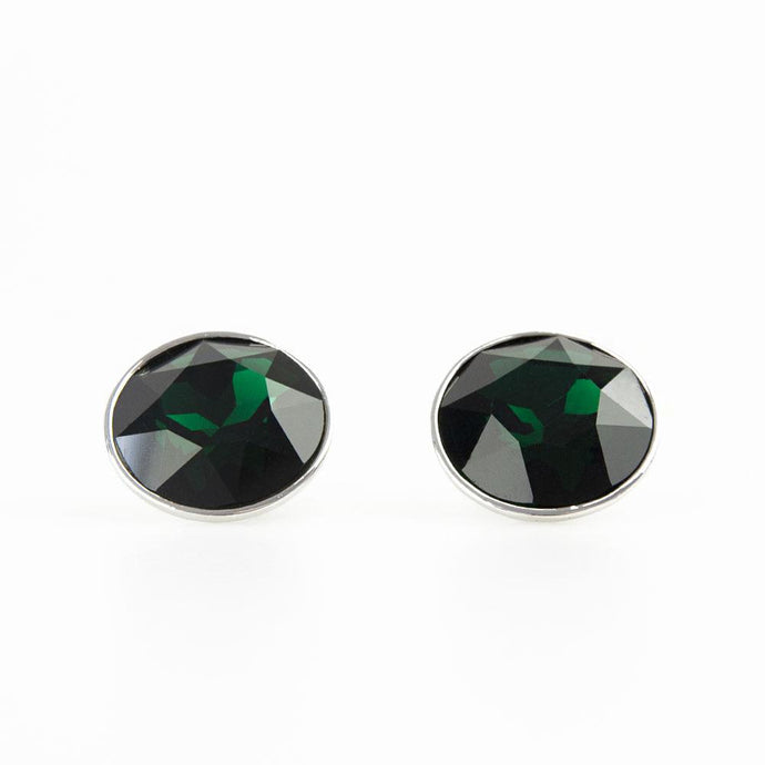 Round Emerald Green Crystal Cufflinks