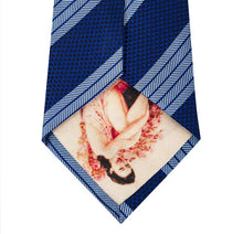 Navy Silk Tie with Herringbone Blue Stripe Back